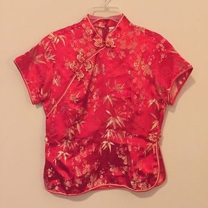 Tops - Red/Gold Chinese Top